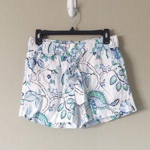 LOFT Outlet White Paisley Tie Waist Shorts